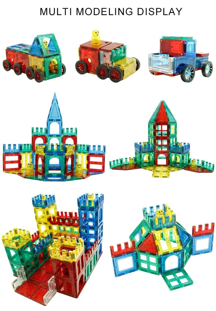Zbond Magnet Building Tiles Clear Magnetic 3D Building Blocks Construction Toys