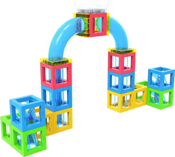 Magnetic 3D Building Blocks with Marble Run Game